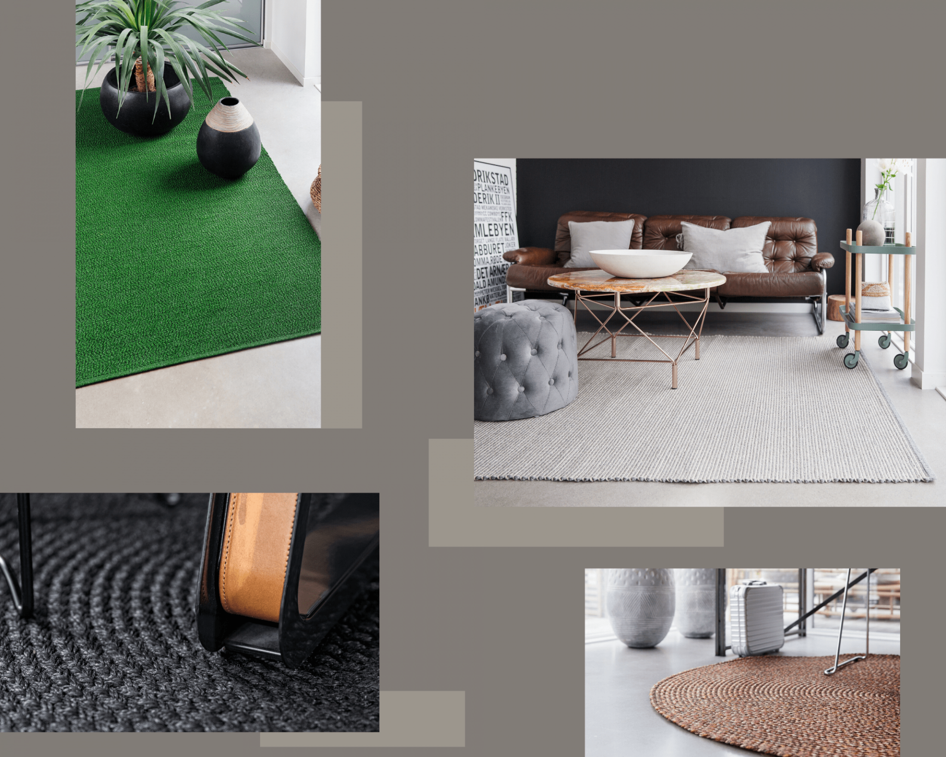 Grey Modern Geometric Dots Interior Design Photo Collage